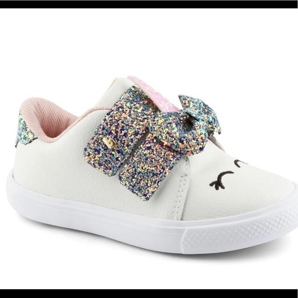 Mini Unicorn Sneakers white, pink and glitter